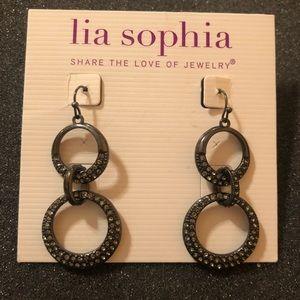 Lia Sophia Silver Chrome crystal Dangle Earrings